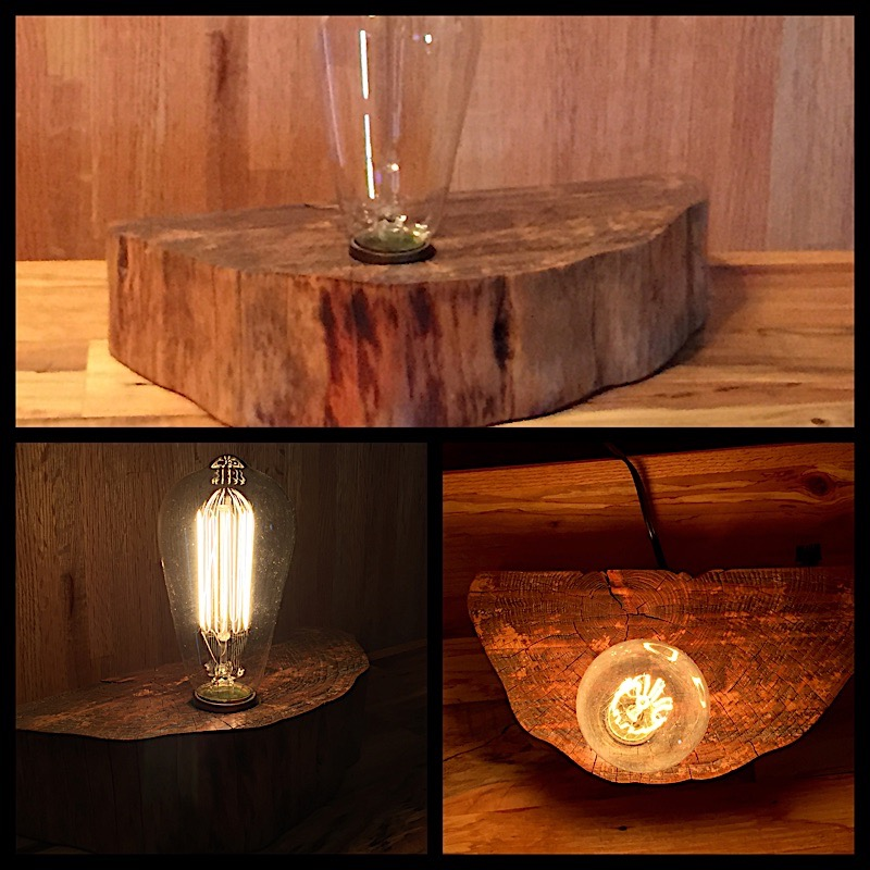 Forest wood wedge Edison bulb desk lamp