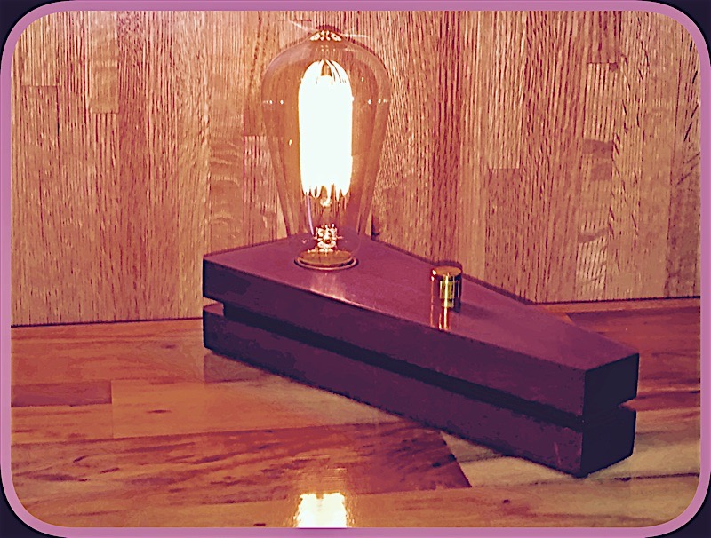 Purple Heart Edison Bulb Desk Lamp